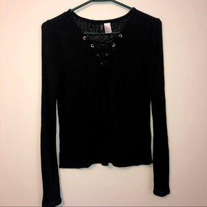 **Free Shipping** Black Long-Sleeve Blouse
